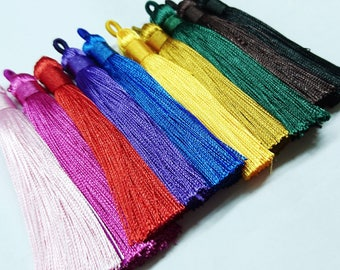 Synthetic Silk thread tassels, 8-9cm long, 2 pcs set, 10 colors available