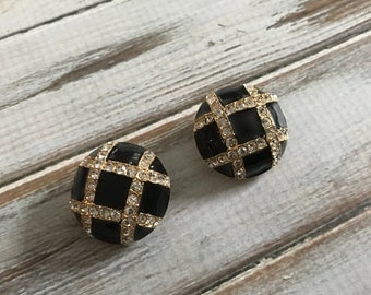 Vintage Joan rivers black enamel earrings with rhinestone accents plaid black and gold clip ons
