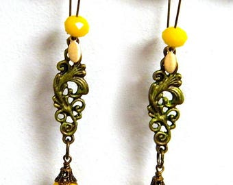 SALE 20% - Stud Earrings, bronze plated brass, green gray, yellow glass beads, metal charms