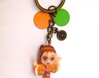 "Keyring ""Japanese kimono"" figurine, synthetic pellets, brass, women gift idea"