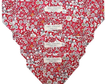 SPRING SALE Liberty Tana lawn JUNE'S Meadow red dog or cat slide on bandana neckerchief ideal gift *handmade in the Uk*