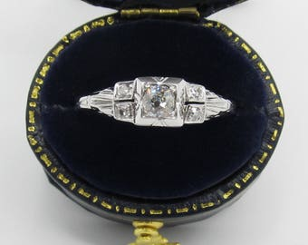 Antique Art Deco Engagement Ring 0.31ctw Diamond 18k White Gold/ Old Mine Cut Diamond/ Vintage Estate Jewelry