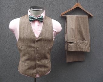 1970s Brown Three Piece Herringbone Striped Wool Suit / 70s Vintage Men's Suit / Brown 3 Piece Suit Size 38 Medium / Vintage Wedding Groom