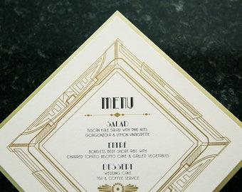 CUSTOM ORDER Black & Gold Metal Metallic Art Deco Great Gatsby Roaring 20's Printed Wedding Menu and Table Numbers