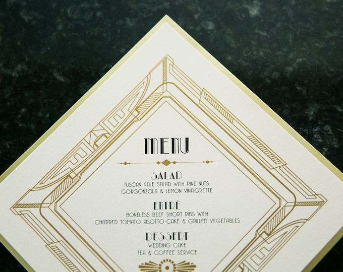 5.5x5.5 Black & Gold Metal Metallic Art Deco Great Gatsby Roaring 20's Printed Wedding Menu
