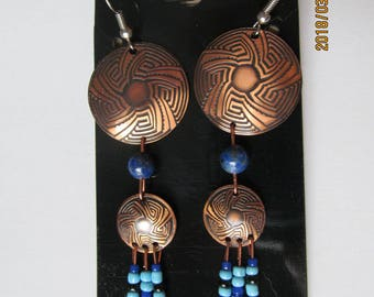 Copper, Aztec, beaded, dangle, drop,glass