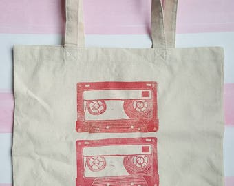 Pink Ombre Cassette Tape Cotton Canvas Market Tote (two long shoulder straps, three tapes)