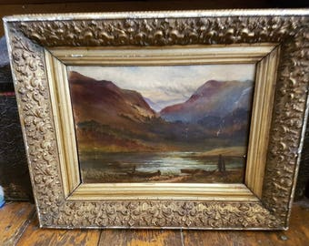 Antique Landscape Oil Painting Scottish Highlands Loch Victorian Original Art in Original Gold Gilt Frame Mid to Late 1800's