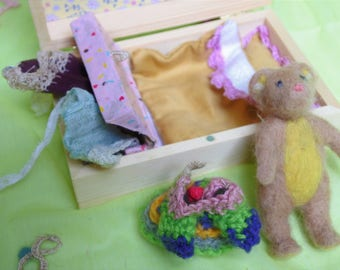 needle wool felted hand-made artistic/collectable doll Bear with bed and clothes