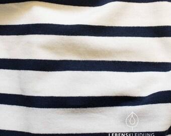 Organic stretch Jersey wide striped white black