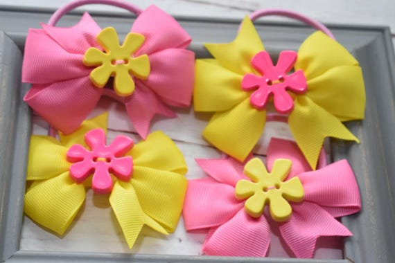 Set of four pink and yellow hair ties /scrunched /pony tail holders