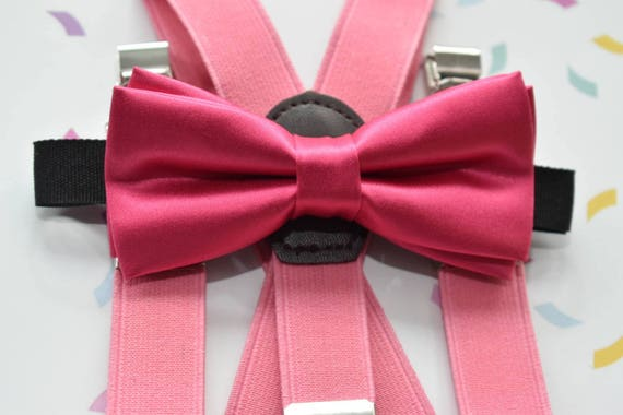 Kids Pink Satin Bow Tie  for Baby, Toddlers and Boys (Kids Bow Ties) with Braces / Suspenders