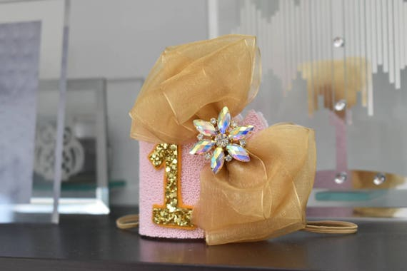 1st birthday crown, custom birthday hat, birthday photo prop, baby birthday outfit,pink and gold crown, Princess crown