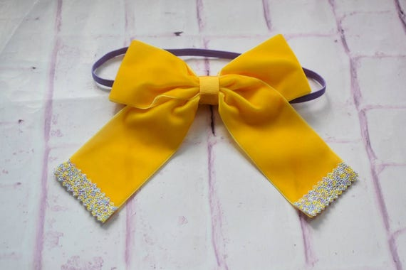 Bright yellow velvet with with beaded tips bow - Baby / Toddler / Girls / Kids Elastic Hairclip / Headband / Hairband/ Barrette / Easter