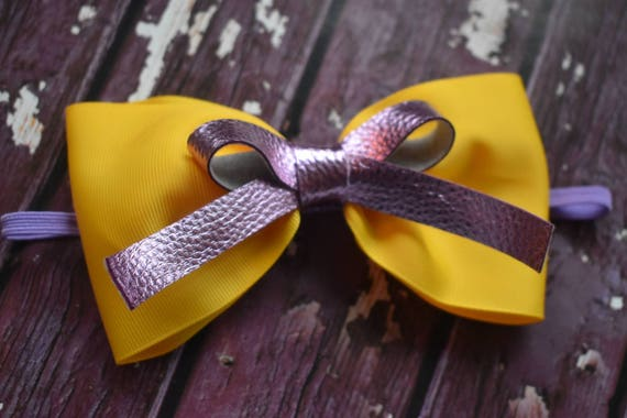 Bright yellow and lilac Baby / Toddler / Girls / Kids Elastic Hairclip / Hair Barrette / Hairband / Headband / Easter / Spring