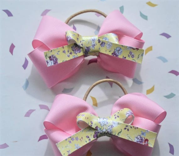 Pair of Pink and Yellow Grosgrain Bow  Hair Ties - Kids / Toddlers / Girl pony tail holders / scrunchies / Flowergirls bow / Hairbands