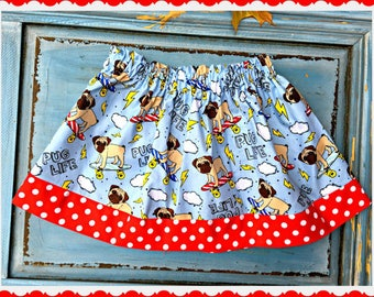girls PUG LIFE skirt 2T 3T 4T 5T 4/5 6/6X 7/8 10/12 14/16 ready to ship