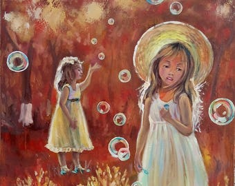 Picture Original Oil Painting Girls  Аir Bubbles