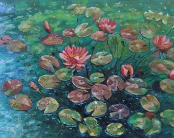 Picture Art Original Oil Painting- Flowers Home Decor Water lilies