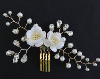 "Wedding - ""Sam"" comb for a romantic Bohemian wedding jewelry"