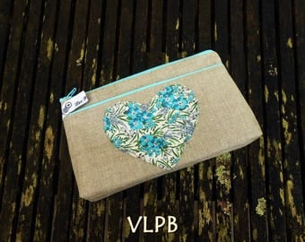 Trousse maquillage lin naturel et liberty Swirling blue