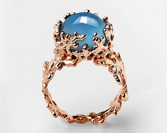 CORAL London Blue Topaz Engagement Ring, Rose Gold Ring, Rose Gold Blue Topaz Ring, London Blue Topaz Ring