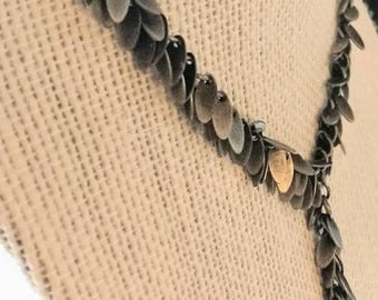 Vintage Silver Leaf Y necklace