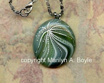HAND PAINTED PENDANT; fused green glass bead, necklace, wearable art, one of a kind, original art, 20 inch silver metal chain,