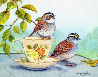 HAND MADE CARDs, the teacup series, chickadees, white throated sparrows, golfinches, juncos,redpols and white crowned sparrows, 4 x 5 inches