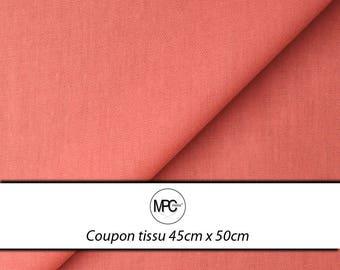 Coupon fabric coral cotton Poplin 45 x 50cm