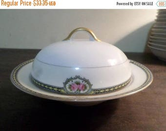 Save 25% Now Vintage 1920's Noritake M China Kenosha Pattern Covered Butter Dish with Lid Pristine Condition