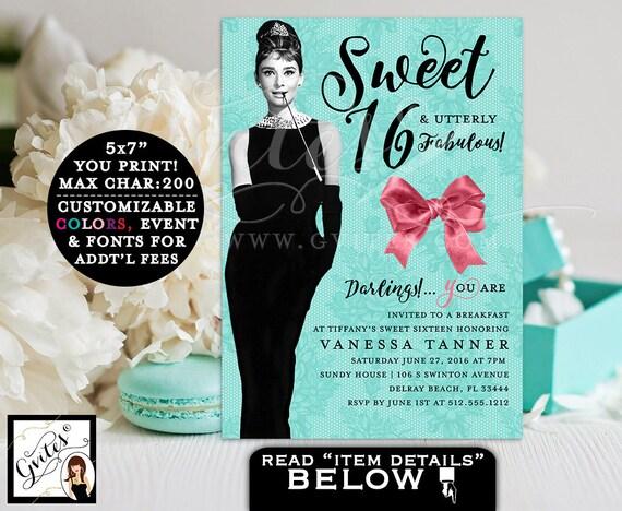 Sweet 16 BIRTHDAY Invitation, breakfast at co themed elegant invites, turquoise blue Audrey Hepburn birthday invite PRINTABLE 5x7