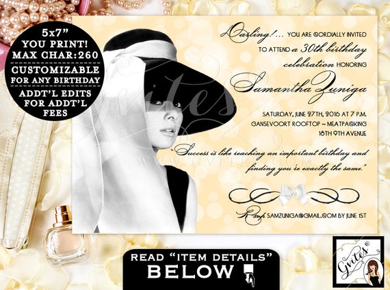 """30th BIRTHDAY Invitation - Audrey Hepburn party themed, black dress and pearls, breakfast at birthday and co PRINTABLE custom designs 5x7""""."""