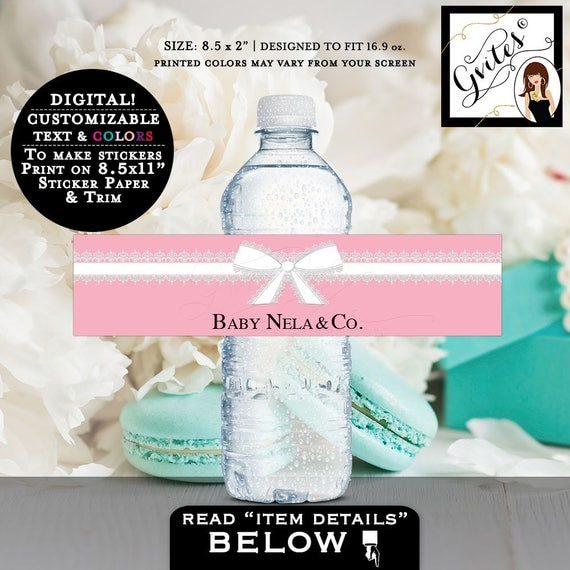 Baby and Co Baby Shower Water Bottle Labels, Breakfast at shower water bottle stickers, personalized text pink, mint green colors, PRINTABLE