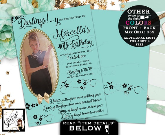 Breakfast at Tiffany's 40th birthday party invitation, Audrey Hepburn party supplies, birthday theme invites, customizable colors, picture.