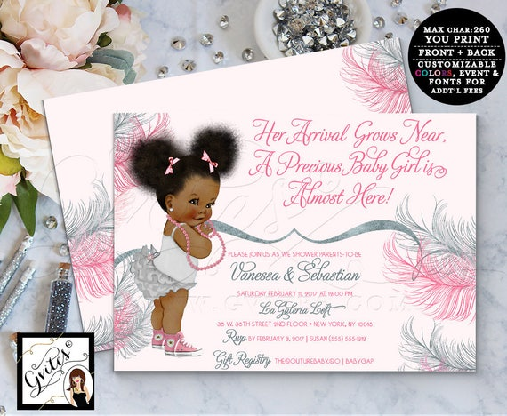 Pink and Silver baby shower invitation, printable invites, afro puffs african american baby girl gray pink double sided, Digital File Only!