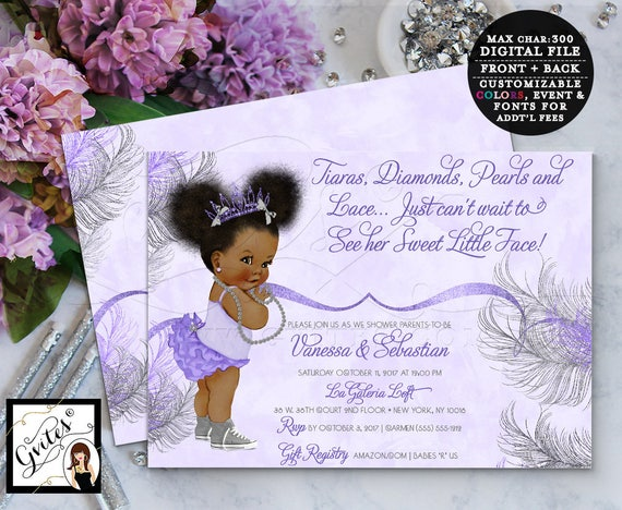 purple and silver african american princess baby shower, Baby shower invitations