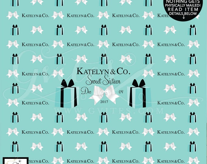 Sweet 16 Step and Repeat Backdrops, breakfast at birthday turquoise blue white bow, name and co, custom backdrops, Shown in Size: 10ft x 8ft