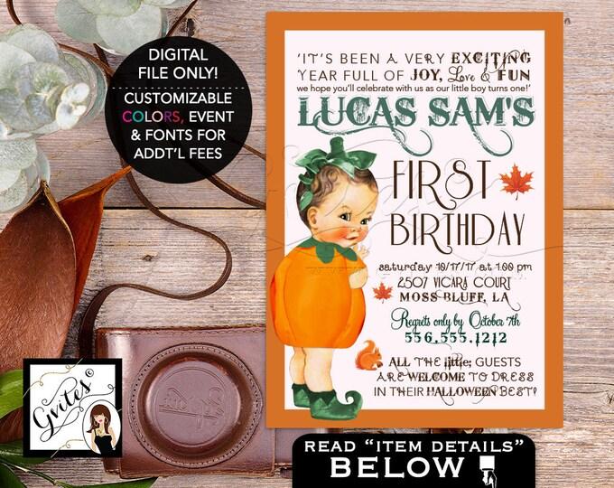 Pumpkin First Birthday Invitation, Our little BOY Birthday Vintage - Invitations, fall baby invites, 1st birthday pumpkin. Digital File, 5x7