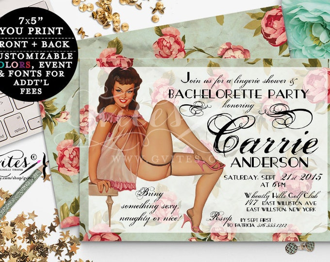 Retro Pin Up Girl Invitations, Vintage bridal shower Bachelorette Party PinUP Girl invitation, 1950s, lingerie pinup girl invites, 7x5.