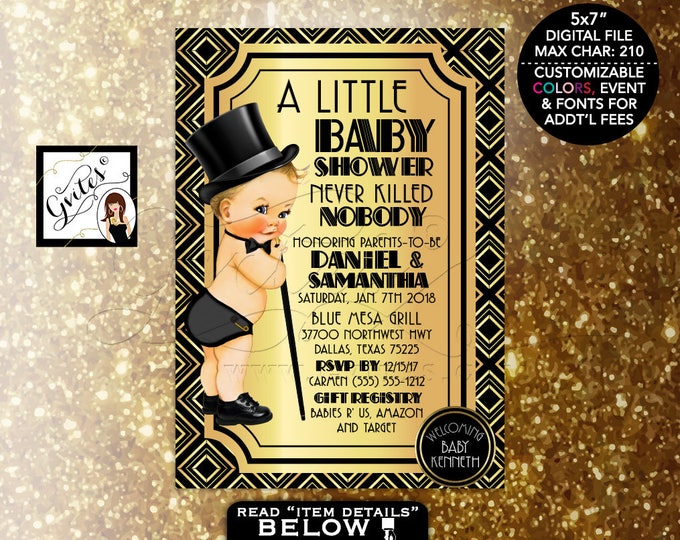Great Gatsby Baby Shower, Baby Boy 1920s Shower Themed Party, Printable, Vintage Boy Top Hat, Digital File Only! 5x7