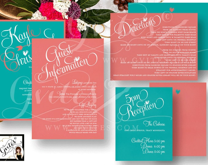 Coral Wedding Invitation Double Sided, Guest Information, Reception, Directions. Printable Digital File Only!