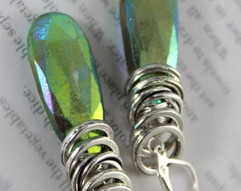 vesuvianite earrings, lever back earrings, green earrings, boho chic earrings, bohemian earrings, valentines for her, ab stones