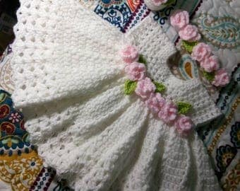 Beautiful Crochet white baby dress  with pink roses, comes with headband, and shoes