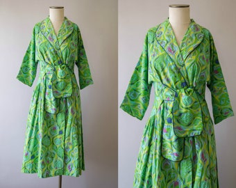 vintage 1950s dress / 50s cotton day dress / medium /