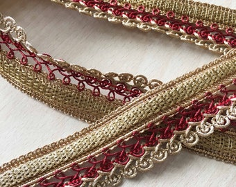 pretty twisted gold lace braid red 35 mm