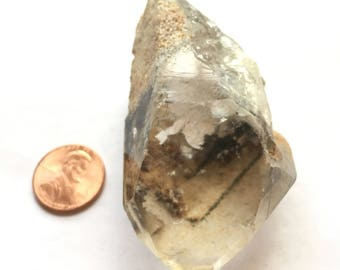 "Chlorite phantom Quartz Crystal Point Brazil 3"" 117g 17rf11029"