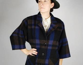 SALE 25% Off Vintage Wool Plaid Coat - Blue Plaid Coat - Fall Winter Coat - Size M
