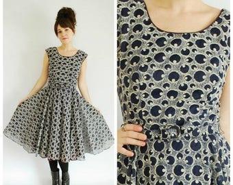 SALE 25% Off 1950's Dress - 1950's Blue Flared Dress - Polka Dot Flocked Dress - Size M