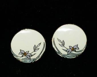 Laurel Burch Wind Flower Earrings - vintage cloisonne enamel floral